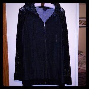Lace sleeved hoodie